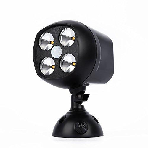 YKS draadloze bewegingssensor licht spotlight, 4 LED IP65 waterdichte beveiligingslampen krachtige binnen & buiten muur schans nachtlampje voor opritten, wandelpaden, veranda, garage, tuin, batterij aangedreven