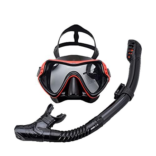 LLC Kit Profesional de Snorkeling, Kit de Snorkel seco, Equipo de Snorkel para Adultos con Vista panorámica y Vista Grande, Adecuado para Adultos y Adolescentes,Rojo