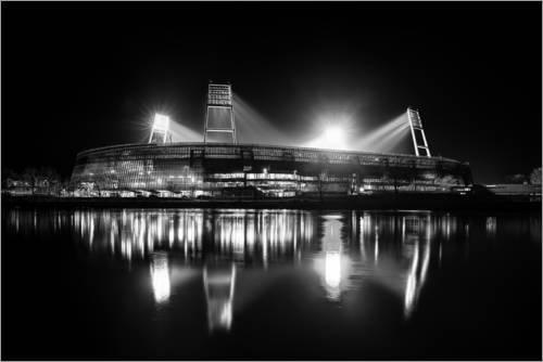 Posterlounge Acrylglasbild 100 x 70 cm: Bremer Stadion schwarz/weiß von Tanja Arnold Photography - Wandbild, Acryl Glasbild, Druck auf Acryl Glas Bild