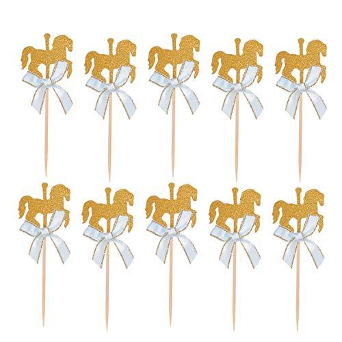 NUOBESTY 20 Stücke Glitzer Karussell Kuchen Topper Schleife Pferd Kuchendeko Cupcake Picks Tortenstecker Kuchenstecker Baby Mädchen Geburtstag Kuchen Dekoration Hochzeit Party Deko