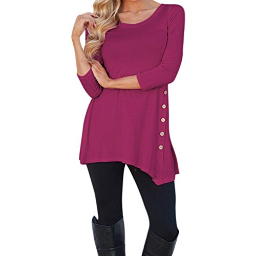 Langarm-Bluse Knopfleiste Oberteile VENMO einfarbiges Rundhals Tunika Damen Langarm Lose T-Shirt Kleid Rundhals Tunika Mini Kleid Freizeit Chiffon Manschetten-Ärmel Locker Bluse (Hot Pink, S)