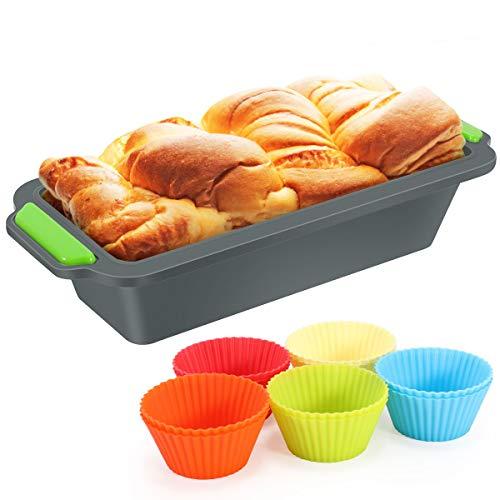 Fostoy Brotbackform Aus Silikon, mit 10 Cupcake-Formen Aus Silikon Förmchen, Kastenform Backform für Königskuchen/Toast/Brot, Rechteckig, Antihaftbeschichtet