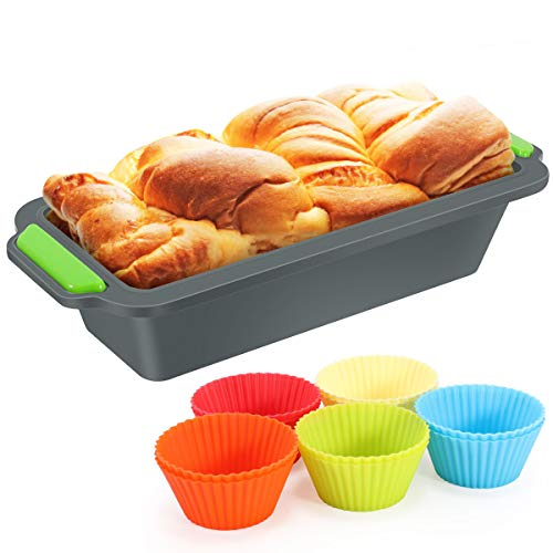Fostoy Kastenform aus Silikon 20cm 2 Pcs, Backform mit 10 Muffin Cupcakes Förmchen, Kastenbackform Brotbackform Kuchenform für Königskuchen/Toast/Brot, Rechteckig, Antihaftbeschichtet