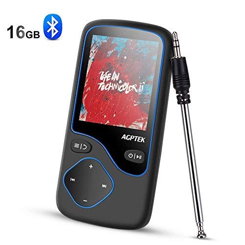 AGPTEK Bluetooth 4.0 16GB MP3 Player, Tragbare Musik Player, Diktiergeräte, 1,8 Zoll Bildschirm Player, unterstützt 128GB Micro SD Speicherkarte, Aufnahme,FM Radio, C5M, Schwarz