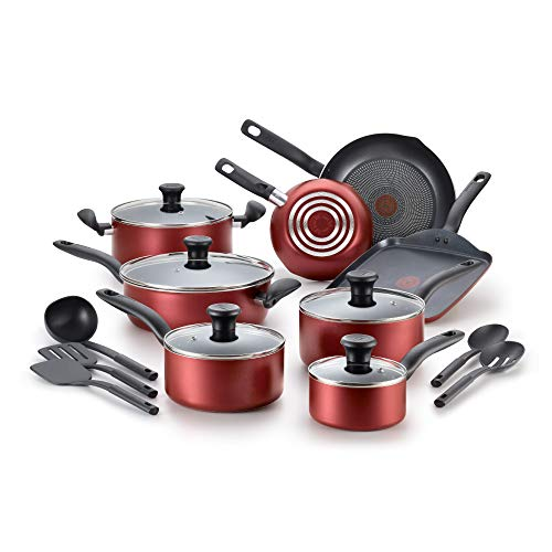 Tfal Dishwasher Safe Cookware Set 18 Piece Red Initiatives Nonstick Inside