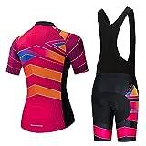 HXTSWGS Maillot de Ciclismo para Mujer de Secado rápido, Conjunto de Ropa para Deportes al Aire Libre, Camiseta y Pantalones Cortos para el Verano-2_L