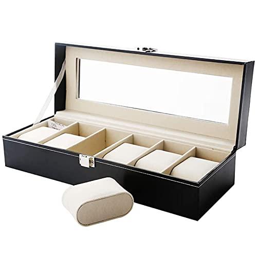 Uten Boîte à Montres/Écrin à Montres/Coffret à Montres/Présentoir à Montres/Boîte à Bijoux, Rangement pour Montres en Cuir Synthétique Noir (6 Compartiments)