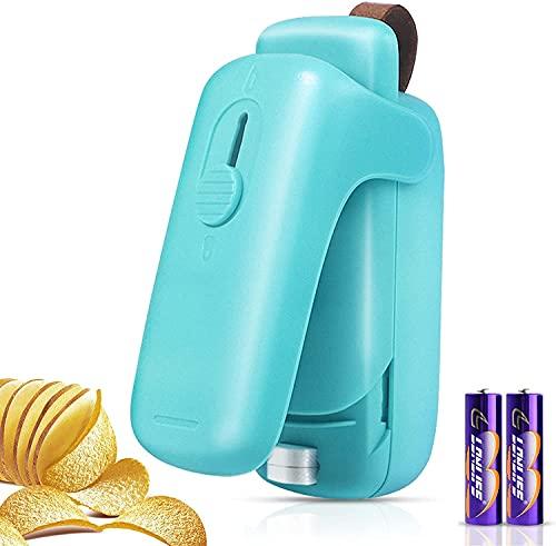 XIMU Sellador de Bolsas, 2 in 1 Mini Bag Sealer con el Cortador, Máquina de Sellado en Caliente portátil, Heat Sealer Machine para Bolsas de Plástico Chip Snack Bag (Batería incluida) (Azul)