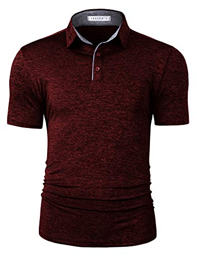 TAPULCO Fresca Mens Active Quick Dry Tech Climbing Polo Work Business Polo Shorts Sleeve Training 3 Button Fitted Cycling Tennis T-Shirt Wine XL