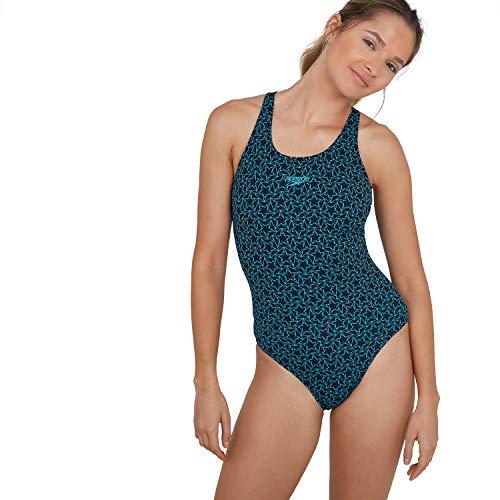 Speedo Boomstar Badeanzug Damen, Muscleback Schwimmanzug Damen, True Navy/Pool, Größe 36