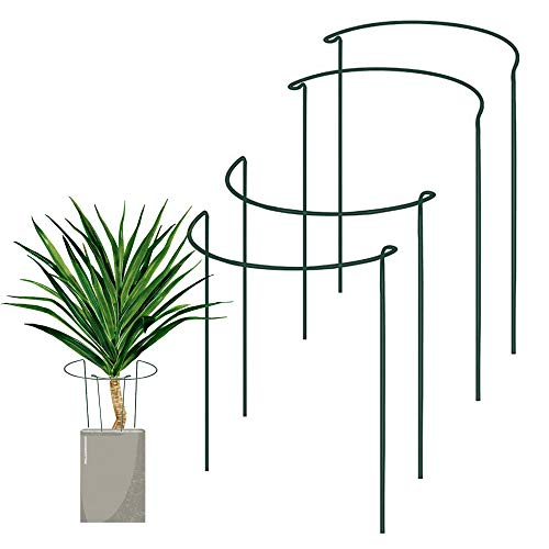 SISIPAI LIFE 4 Pack Half Round Green Plant Supports for Garden, Plant Support Stake, Plant Cages, Plant Support Ring for Tomato, Roses, Hydrangea, Flowers Vine (9.5' Wide x 15.7' High)