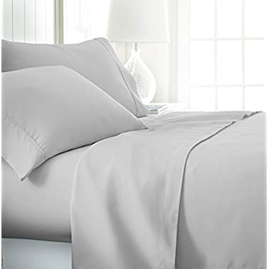 ienjoy Home Hotel Collection Luxury Soft Brushed Bed Sheet Set, Hypoallergenic, Deep Pocket, Full, LGray
