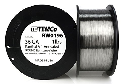TEMCo Kanthal A1 wire 36 Gauge Resistance AWG A-1 ga