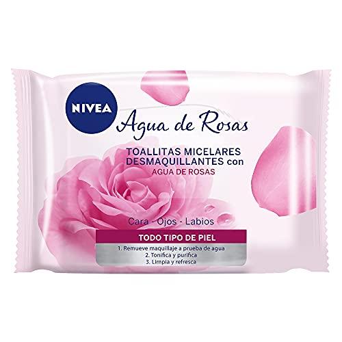 Toallitas Faciales Desmaquillantes para Maquillaje a prueba de Agua, Agua De Rosas Todo Tipo de Piel