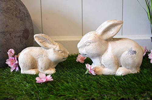 HKT Home Deco Osterdeko Hase aus Keramik, Osterhase, 2 STÜCK, 2er SET !!!!, sitzend, creme, antik, rustikal, Ostern Tischdeko Oster-Geschenk Deko, 8cm und 11cm Höhe