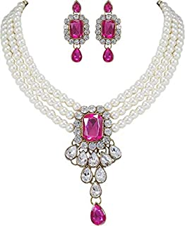 Sakhhi Jewels Gold Plated kundan Look Stone Studded Jewellery Necklace Set Combo for Girls and Women