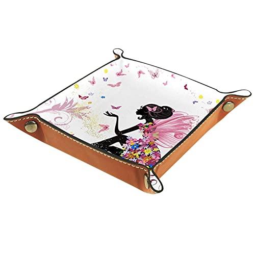 Caja de almacenamiento pequeña, bandeja de valet para hombre,niña alas mariposa ,Organizador de cuero para llaves de caja de monedas