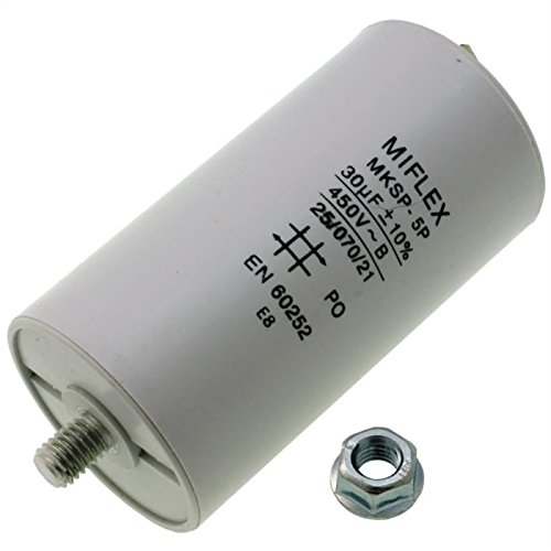 AnlaufKondensator MotorKondensator 30µF 450V 45x83mm Stecker M8 ; Miflex ; 30uF