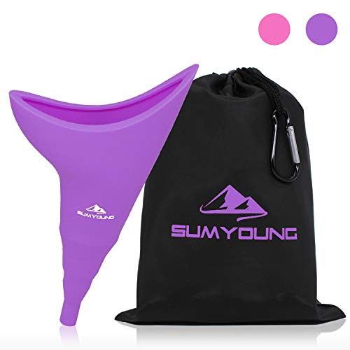 Female Urination Device, Foolproof Female Urinal Allows Women to Pee Standing Up, Portable, Compact, Lightweight Design for Camping, Hiking, Music Festivals, with Drawstring Bag and Carabiner-Purple