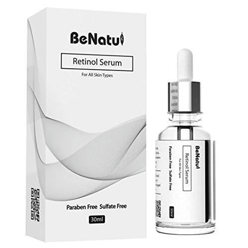 Retinol Serum - 2,5% Retinol Ácido Hialurónico Anti-Arrugas Booster - Anti-Aging Lift Serum, Para cara, escote y cuerpo por BeNatu (100% Vegano y Orgánico)