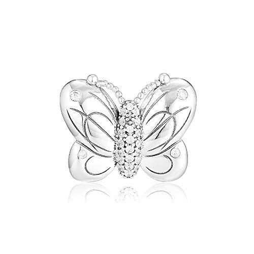 Pandora 925 Sterling Silver DIY Jewelry Charmdecorative amuleto de mariposa para hacer joyas se adapta a la pulsera de cuentas kr