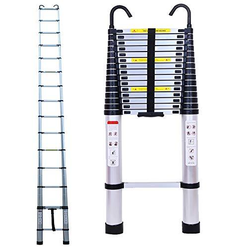 6.2M/20.35ft Aluminium Extension Telescopic Ladder Multi-Purpose Foldable...
