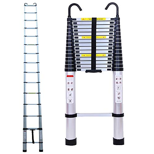 6.2M/20.35ft Aluminium Extension Telescopic Ladder Multi-Purpose Foldable Ladders and Roof Hook Portable Space-Saving EN 131 Certificate Max Load 150kg/330lb for Attic Loft