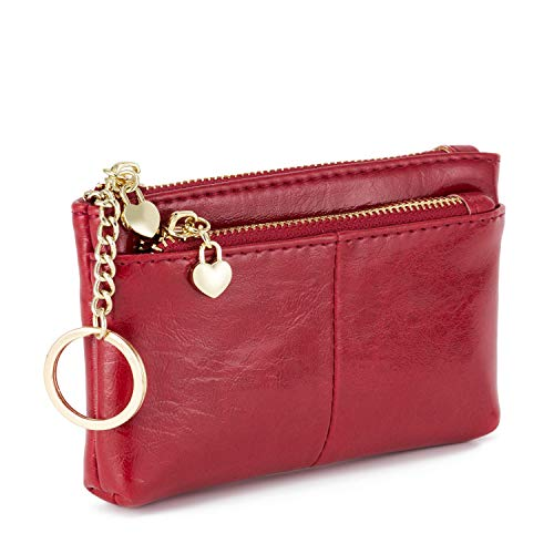 ZOOEASS Women PU Leather Zip Mini Coin Purse With Key Ring Triple Zipper Card Holder Wallet(Red)