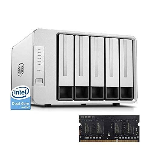 TerraMaster F5-221 NAS 5-Bay Cloud Storage Intel Dual Core 2.0GHz 2GB DDR Almacenamiento en red +2GB DDR (sin disco)