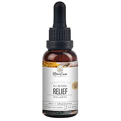 Rowe Casa Organics Relief - Essential Oil Supplement Blend with Curcumin, Black Pepper, and Ginger | Pain Relief and Joint Support (2 Ounces)
