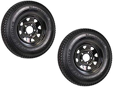 2-Pk Trailer Tire On Rim Radial ST175/80R13 175/80 LRC 5-4.5 Black Spoke Wheel