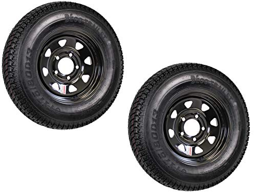 Set of 2 13' ST175/80D13 Trailer Tire & Rim 5 Lug 6 Ply Spare Rubber Tires with Black Spoke Steel Wheel