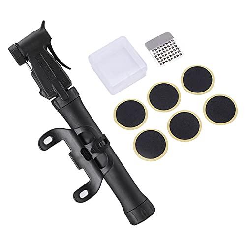 DSFSAEG Mini bomba de bicicleta y kit de reparación de pinchazos sin pegamento de inflado rápido Mantenimiento bomba de neumáticos de bicicleta con caja para carretera y MTB (negro)