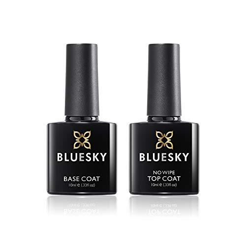 Bluesky Gel Nail Polishes, No Wipe Top Coat and Base Coat, Soak Off LED UV Gel Nail Polish Set, Long Lasting, Shiny, High Gloss Finish, Clear, 2 x 10ml Bottles