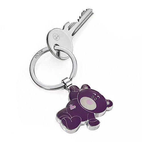 TROIKA Benny SCHLÜSSELANHÄNGER - KR14-11/PU - Schlüsselanhänger Teddybär mit Herz - Metallguss - glänzend - verchromt - lila- das Original von TROIKA