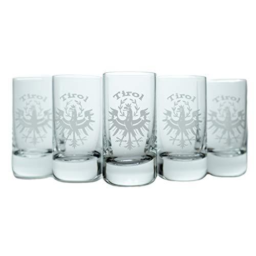 greenfuture® Schnapsgläser, Schnapsglas Set mit Gravur 2cl - Tiroler Adler, spülmaschinenfest, Kristall, 6 Stamper, 3,8cm