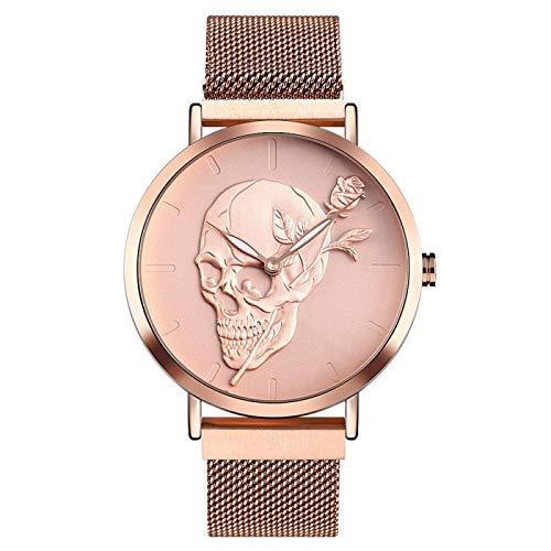 xiaoxioaguo Reloj de cuarzo para hombre, diseño de calavera de malla de acero, reloj de esqueleto, reloj masculino, resistente al agua, luminoso, Relogio masculino, oro rosa