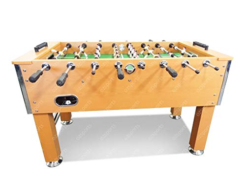 T&R sports Heavy Duty 5FT Soccer Foosball Table Heavy Duty for Pub Game Room with Drink Holders, Oak