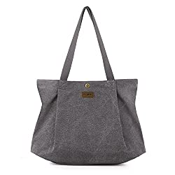 Large grey canvas tote bag for work and school