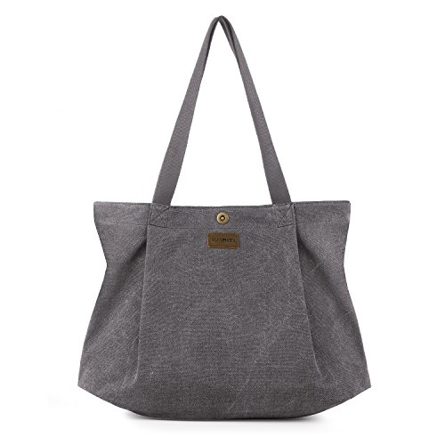 SMRITI Canvas Tote Bag for Women School Work Travel and Shopping (2 Light grey)