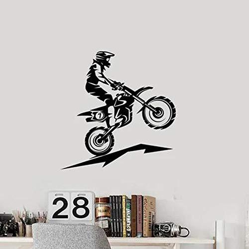 Pegatinas de motociclista de dibujos animados papel pintado impermeable sala de estar dormitorio pegatinas extraíbles pegatinas de pared a prueba de agua A4 43x44cm