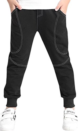 Kids Cotton Pull On Active Sports Jogging Sweat Pants with Pockets for Little Boys & Big Boys, Black, Age 7T-8T (7-8 Years) = Tag 140