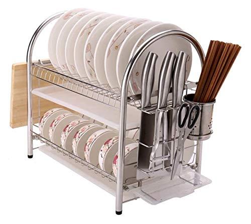 Escurridor de Platos Multifuncional Cocina Estante de almacenamiento Plato y escurridores Multifunción 2-Nivel de acero inoxidable de acero inoxidable PRUCTOR DE DRENAJE DE COCINA DE COCINA DE DISTRAD