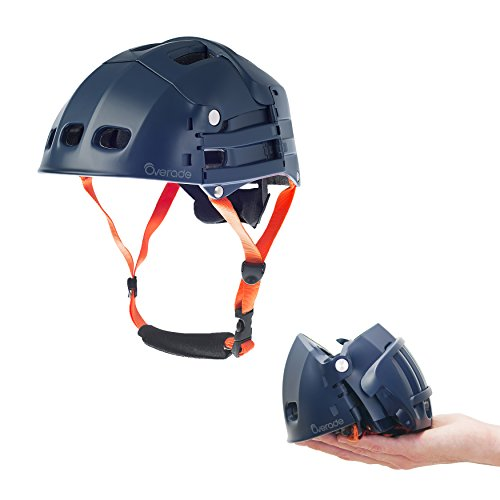 Foldable Helmet Plixi Fit - for Bike, Kick Scooter, Skateboard, Overboard, e-Bike - CPSC Standard, Same Protection as Classic Helmet - Volume Divided by 3 When Folded (Blue, S/M)
