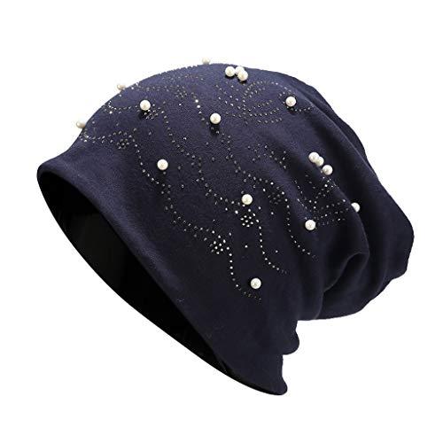 Chapeau de bonnet élastique unisexe avec perles Pure Color