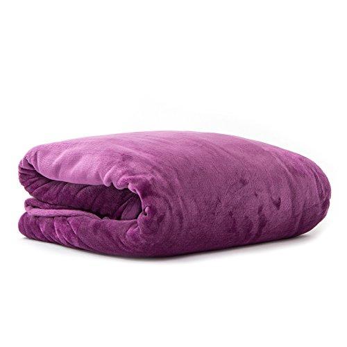 Pink Papaya SnugMe Supersoft, flauschig weiche XXL Cashmere-Touch Kuschel-Decke, 220 x 240 cm, 280g/m² Flannel-Fleece, Farbe: Lila
