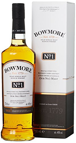 Bowmore No. 1 Single Malt Scotch Whisky, mit Geschenkverpackung, fruchtiges Aroma mit dezenter Rauchigkeit, 40{28604b63c4e165d38c7e0bdbeaa2ac727f35f6fec8ae7562bb3d67ade54989b1}Vol, 1 x 0,7l