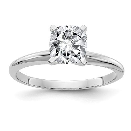 14k White Gold 1.3ct. 6.5mm Cushion Moissanite Solitaire Band Ring Size 7.00 Engagement Gsh Gshx Fine Jewellery For Women Gifts For Her