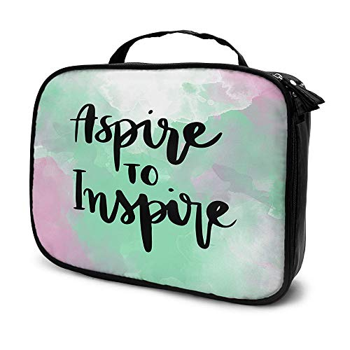 Moslion Motivational Quote Travel Makeup Train Case Word Aspire To Inspire with Doodle Splashes Ink Brush Cosmetic Organizer Toiletry Bag for Makeup Brushes Tools Women