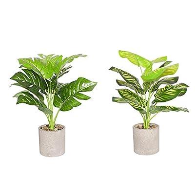 "Binnny Flower 18"" Set of 2 Fake Potted Plants Artificial Green Leaf Plants in Pots Faux Plants Decor Indoor for Home Bathroom Office Tabletop Desk"
